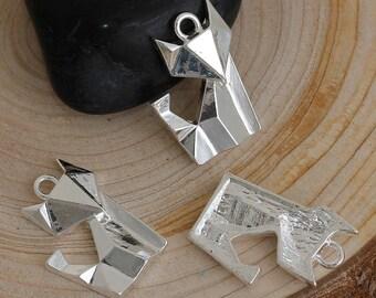 Breloque origami renard 22x16mm argenté