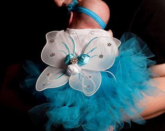 Tutu Skirt Set,Infant Headband Set,wings and skirt with bow,Baby Shower Gift,first Photo Props,customize yours all sizes welcome