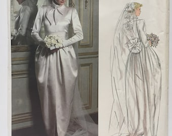 Vintage 1970s Vogue Paris Original 2545 Christian Dior Wedding Gown Sewing Pattern Size 12 Uncut FF