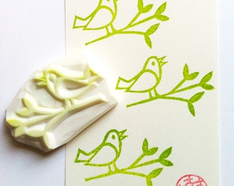 bird rubber stamp | woodland animal stamp | diy card making | gift wrapping | spring crafts | snail mail | hand carved by talktothesun