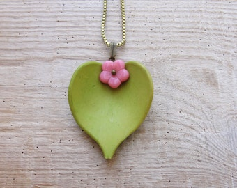 Green Pink Leaf Necklace Resin and Glass Floral Jewelry
