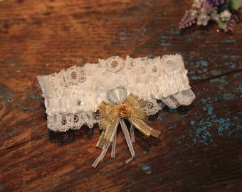 Garter. With Hand Made Bow - Gold (All Colours Available) - Bridal Wedding Garter