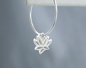 Tiny Sterling Lotus Hoops - Sterling Silver Earrings - Yoga Jewelry - Yoga Gift - Yoga Earrings - Lotus Jewelry - Spiritual Jewelry
