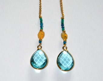 Vintage style earrings gold-plated and blue Quartz