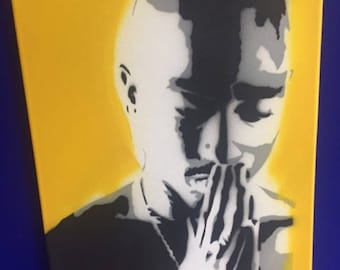 Tupac Shakur / 2pac - spray painted stencil on canvas. (Rapper-Legend-Hip Hop artist)