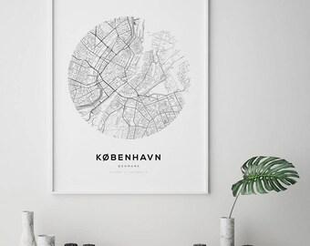 Copenhagen City Map, Affiche Scandinave, Scandinavian Print, Denmark Map Print, Copenhagen Map Print, Street Map Print, Nordic Print