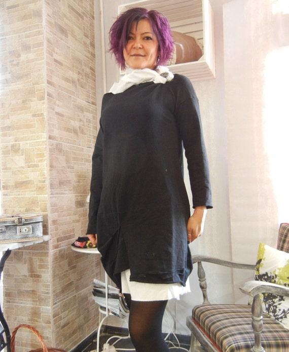 Black Flattering Loose Dress, Sexy Asymmetric Cotton Deconstructed Elegant Dress, Alternative Pagan Black Dress