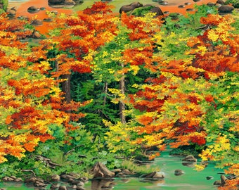 Autumn Blaze landscape fabric with fall colors.