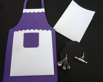 Baking Themed Earrings. Measuring Spoons and Rolling Pin Earrings on Handmade Earring Apron Card.  STERLING SILVER Ear Wires.