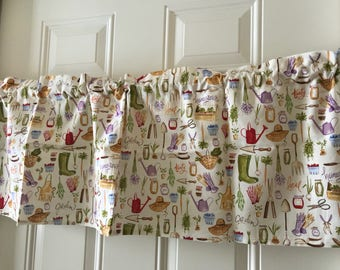 Springtime Garden Tools cream and brown curtain valance