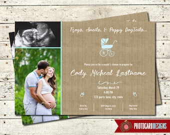 Baby Shower Invitation, Baby Shower, Picture, Shower Invitation, Personalize, Couples, Photo Invitation, Card, Digital, Print file, Burlap