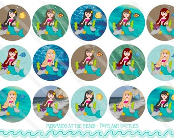 Mermaids at the Beach 1 Inch Circles Collage Sheet for Bottle Caps, Hair Bows, Scrapbooks, Crafts, Jewelry & More