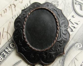 25x18mm brooch mount, pin setting, black antiqued brass frame, noir patina, dark aged patina, oval blank, 18x25 18mm 25mm 18 25