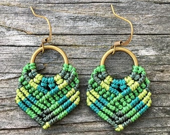 SALE Micro-Macrame Dangle Earrings - Green Mix