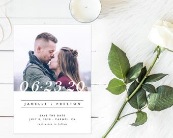 Photo Save the Date, Engagement Photo Save the Date, Simple Save the Date, Big Numbers Save the Date