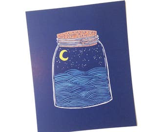 Night Ocean Bottle PRINT