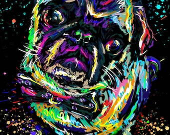 Pug Art, Dog Painting, Pet Art