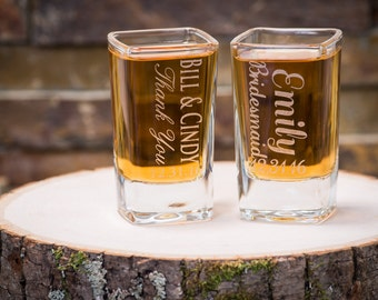 Wedding Favor- Bachelorette Party Favors- Custom Engraved Shot Glasses, Bridesmaid Gifts, Bridal Shower, Birthday Gift, Bridal Party