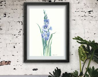 Watercolor Painting Art Print, Gladious Flower Art Poster, Floral Illustration, Interior Decoration