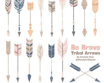 Professional Tribal Arrows Clipart & Vectors in Navy and Blush - Arrows Clip Art, Tribal Arrow Clipart, Arrow Vectors, Arrow Graphics