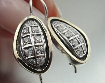 Art Deco, vintage Earrings, Long 925 Sterling Silver &  9K Yellow Gold Zircon Earrings, round earrings, Handmade CZ Earrings.  (ms e1313)