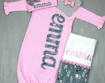 Girl Coming Home Outfit - Baby Girl Gown - Baby Girl Bring Home Outfit - Baby Pink Sleeper With Cap - Baby Name Gown - Take Home Outfit