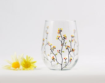 Hand painted stemless wine glass - Louisa Collection in Fall colors