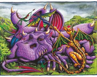 Purple Dragon Poster, Print or Canvas