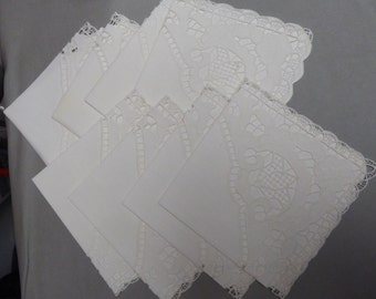 8 Lovely White Vintage Linen Napkins