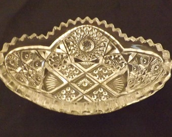 Antique American Brilliant Imperial Glass Sawtooth Relish Dish