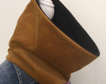 Cowl, neck warmer, infinity scarf, corduroy