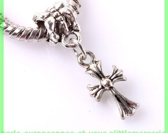 Pearl European bail N477 cross for bracelet charms