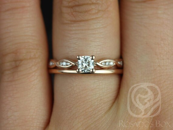 Rosados Box Ember 4mm & Plain Romani 14kt Rose Gold Infinity DNA Twist Cushion F1- Moissanite and Diamonds Wedding Set