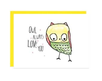 Owl Always Love You Card for Boyfriend, I Love You Card, Love Card, Thinking of You Card Valentine's Day Card Love Gift for Him Gift for Her