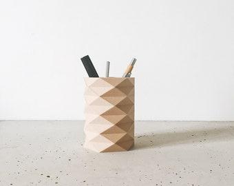 Pencil pot Storage Desk decoration Desk organizer Design and geometric ORIGAMI printed in wood gift fir her him coworker