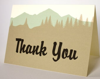 Mountain Woods Thank You Card Wedding Folded Sized A6 Choose Fonts Outdoor Camping Hiking Reception