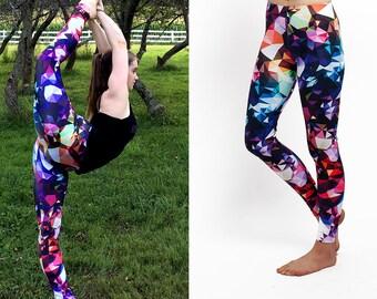 Colorful Summer Leggings / Blue Gem Print Leggings / Premium Leggings in Bold Colorful Geometric Print / Climbing Runners Leggings