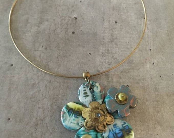 necklace with polymer clay pendant - new collection