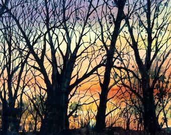 Tanglewood IV, Watercolor Print, Colorful Sunset Sky, Trees, Silhouette, Purple, Orange