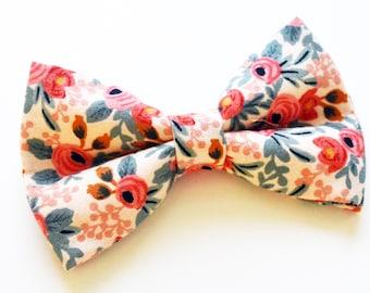Peach Flower bow ties For baby, boy bow tie, baby bow tie, adult bow tie, men's bow tie, peach bow tie, wedding bow tie, groomsmens bow tie