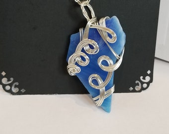 Hand wire wrapped blue stained glass necklace