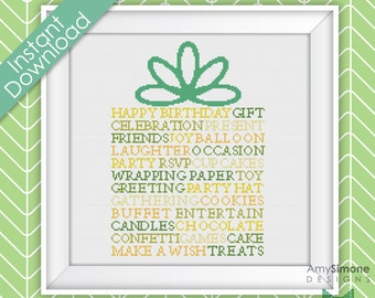 Happy Birthday Present Typography Cross Stitch Pattern