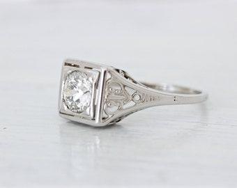 Art Deco Engagement Ring, Antique Diamond Solitaire Ring 3/4 CT, 18k White Gold, Unique 1920s Geometric Filigree Bridal Jewelry Size 6.5