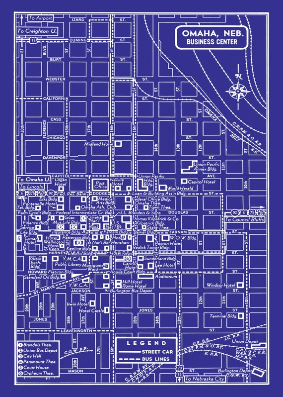 1949 Vintage Map of Downtown OMaha Blueprint Map Print Poster