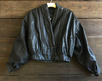 Vintage 80s Cropped Puff Sleeved Leather Jacket