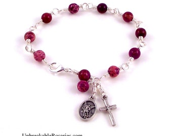 St Michael The Archangel Rosary Bracelet In Purple Imperial Jasper by Unbreakable Rosaries
