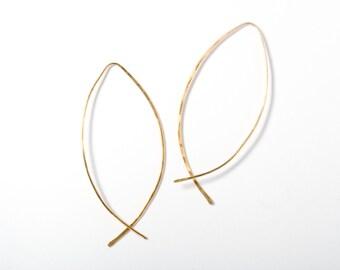 Thin Hoop Earring, Gold Hoop Earring, Open Hoop Earring, Minimalist Jewelry, Everyday Earrings, Simple Gold Earrings, Gold Line Earrings