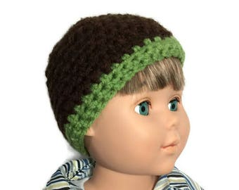 18 Inch Boy Doll Hat,  Brown and Sage Green Doll Beanie, Crocheted Doll Hat, Boy Doll Clothes, Made to Order