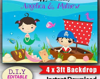 """EDITABLE 4 x 3 ft Party Backdrop. Mermaid & Pirate, 48"""" x 36"""" with D.I.Y. Editable Text. Edit at Home with Adobe Reader."""