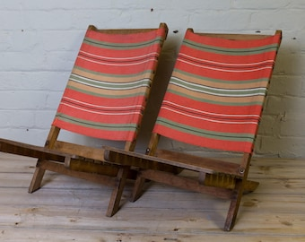 Vintage deck chairs, highly desirable, a pair of children's deckchairs, childrens canvas chairs, collapsable, striped, unique, deck chairs